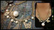Layered Gold Chain Necklace with Pearl and butterfly Charm