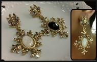 Gemstone Drop Gold Earrings