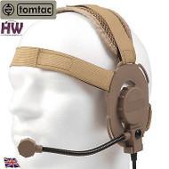 AIRSOFT TOMTAC BOWMAN EVO III 3 HEADSET BOOM MIC TAN SAND DE HELMET RADIO UK
