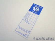 Service Sticker - VW Dealer Unused
