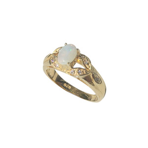 MISTEQUE ARMS 18KT GOLD PLATED OPAL RING