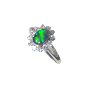 BOLD FLOWER STERLING SILVER OPAL RING
