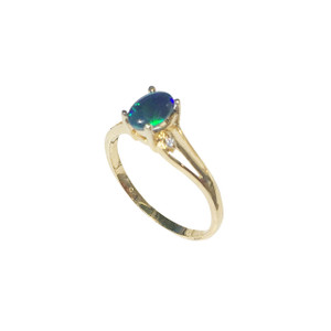 LOVED RIGHT 18KT GOLD PLATED BLACK OPAL RING