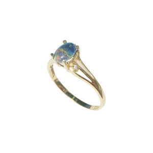 AZURE SPLICE 18KT GOLD PLATED OPAL RING