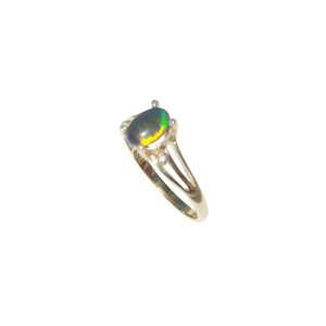 AZURE SPARKLE 18KT GOLD PLATED OPAL RING