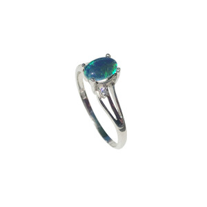 AZURE SPRINKLE STERLING SILVER OPAL RING
