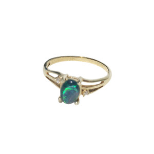 AZURE RAINBOW 18KT GOLD PLATED OPAL RING