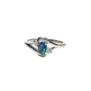 SWEET TRIO STERLING SILVER OPAL RING