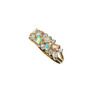DELICATE FLOWER 18KT GOLD PLATED OPAL RING