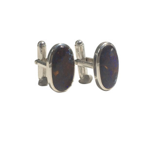OVAL PURPLE DREAM STERLING SILVER OPAL CUFF LINKS