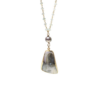 ELECTRIC HILL FLASH OPAL, FRESH WATER PEARL, & AMETHYST NECKLACE