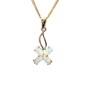 FALLING FLOWER 9kt GOLD OPAL NECKLACE