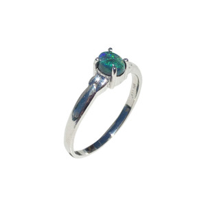 WARM HEARTED LOVE 9kt WHITE GOLD AND BLACK OPAL RING