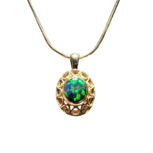 INSPIRATIONAL LOVE 18kt GOLD BLACK OPAL NECKLACE