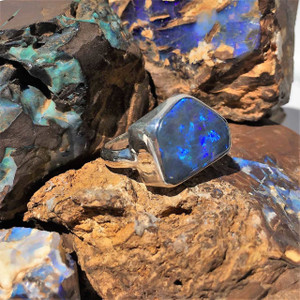 DEEP BLUE HARMONY STERLING SILVER OPAL RING