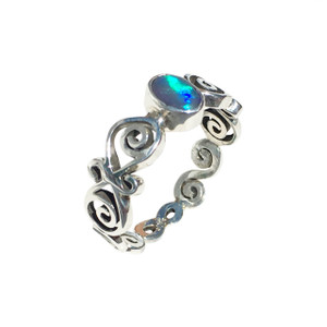 MIRROR BLUE SWIRL STERLING SILVER OPAL RING