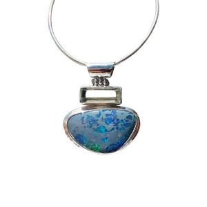 BLUE SHATTERED SKY STERLING SILVER OPAL NECKLACE