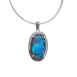 LA ELLA BLUE 18KT WHITE GOLD & DIAMOND OPAL NECKLACE