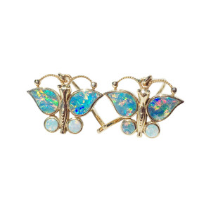 PRECIOUS BUTTERFLIES 14kt GOLD OPAL EARRINGS
