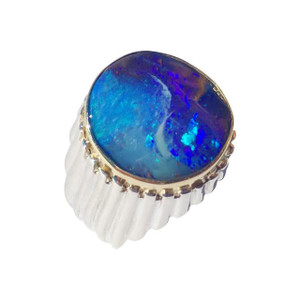LIGHTNING DELIGHT 18kt GOLD MENS OPAL RING