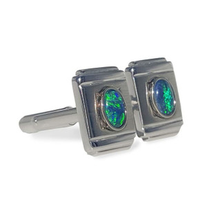 STERLING SILVER OPAL CUFF LINKS WITH GREEN FLASH