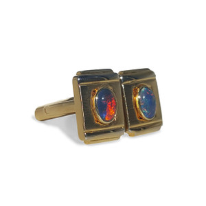 18kt GOLD PLATED OPAL CUFF LINKS WITH RED FLASH