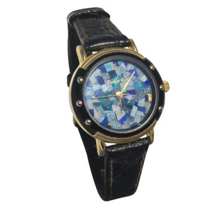 GENUINE LEATHER ROUND OPAL WATCH (BLACK)