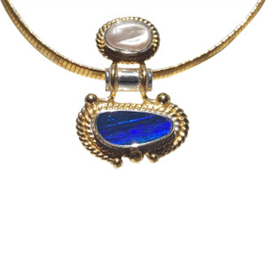 DESIGNER OPAL NECKLACE WITH FRESHWATER PEARL