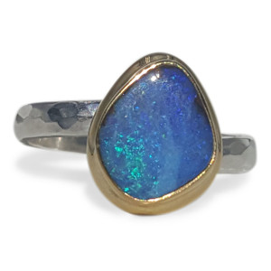 AQUA GREEN AND BLUE OPAL RING