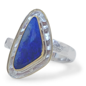 BLUE & POTCH OPAL RING