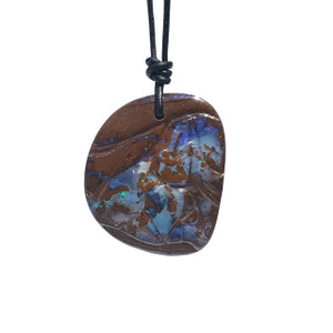 BLUE POTCH WITH GREEN BOULDER OPAL NECKLACE