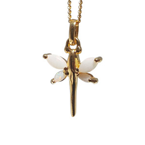 WHITE OPAL DRAGONFLY 18kt GOLD PLATED NECKLACE