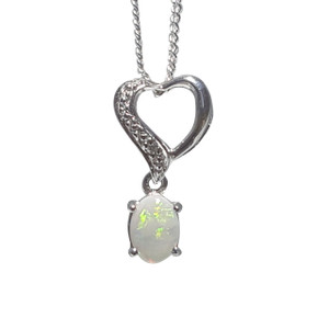 HAVE MY HEART WHITE OPAL STERLING SILVER NECKLACE