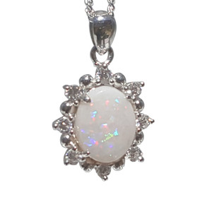 WHITE OPAL FLOWER STERLING SILVER NECKLACE