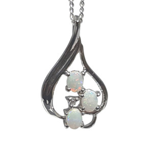 TRIO DROP STERLING SILVER WHITE OPAL NECKLACE