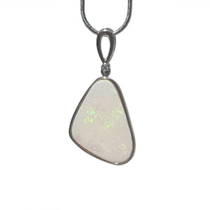 RAINBOW ICEBERG WHITE OPAL STERLING SILVER NECKLACE