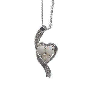 EMBRACING LOVE WHITE OPAL STERLING SILVER NECKLACE
