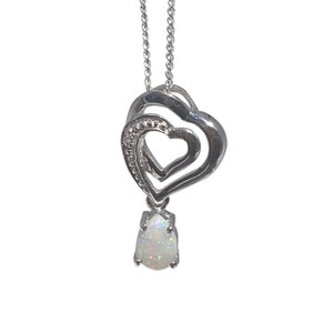 STERLING SILVER DOUBLE HEART WHITE OPAL NECKLACE