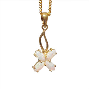 4 LUCKY LEAF FLOWER 18kt GOLD PLATED OPAL NECKLACE
