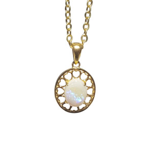 HEART SURROUNDED WHITE OPAL 18kt GOLD PLATED NECKLACE
