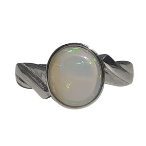 CIRCLE OF LOVE STERLING SILVER OPAL RING