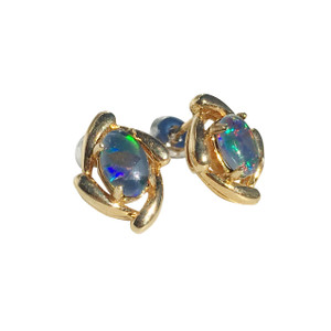 PINK ORBITAL DANCE 18kt GOLD PLATED STUD OPAL EARRINGS