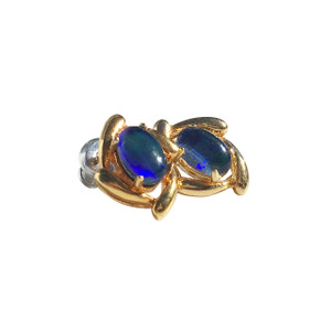 SKYGRASS 18kt GOLD PLATED STUD OPAL EARRINGS