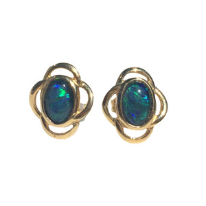 OCEAN LEAF 18kt GOLD PLATED STUD OPAL EARRINGS