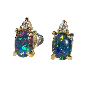 PEACOCK DAZZLE 18kt GOLD PLATED & CUBIC ZIRCONIA OPAL EARRINGS