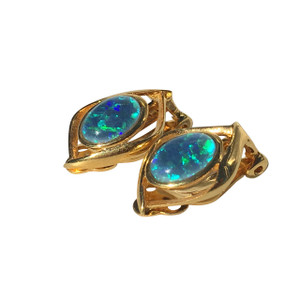DELICATE GREEN GRASS SWIRL 18kt GOLD PLATED OPAL EARRINGS