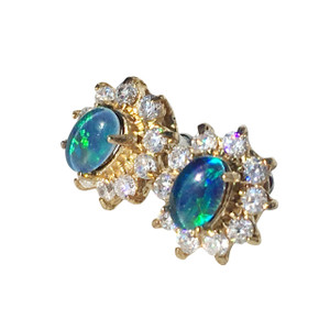 SKY STEM DAISY 18kt GOLD PLATED OPAL EARRINGS