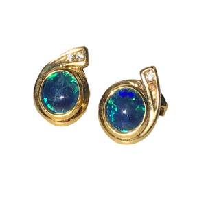 DEEP BLUE HORN 18kt GOLD PLATED OPAL EARRINGS