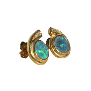 AQUA MARINE DROP 18kt GOLD PLATED OPAL EARRINGS
