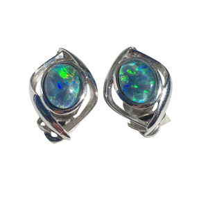 DISCO LIGHT STERLING SILVER OPAL EARRINGS